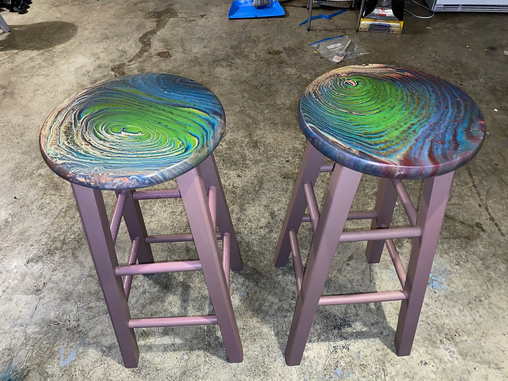 Wood Bar Stools - Hand Painted
