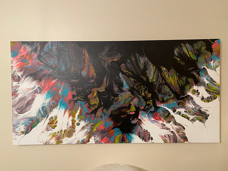 Untitled Dutch Pour - 24x48 inch Latex on Canvas