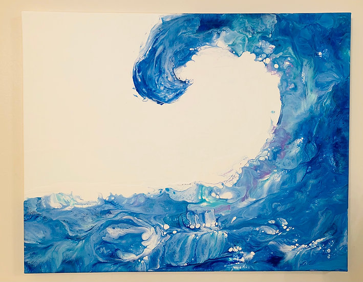 """""""Catch a Wave"""" Acrylic on Canvas 16x20 inch - Signed and Sealed"""