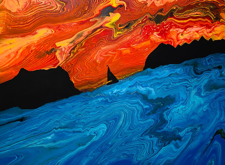 """""""Solace at Sunset"""" Acrylic/Latex on Canvas 37.5 x 50.5 inches"""