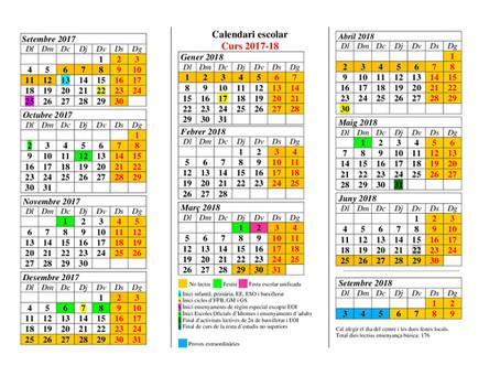 Calendari escolar 2017-2018