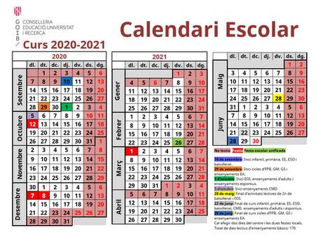 Calendari escolar 2020-2021