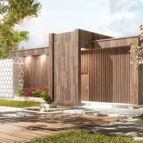 3d rendering of modern cozy house for sale or rent with large garden. Spring