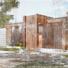 Sketch of modern cozy house with large garden. Spring