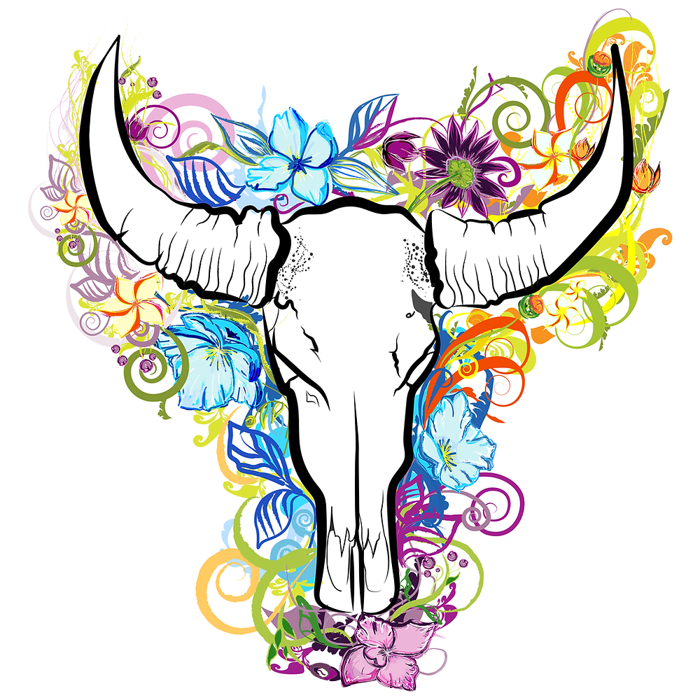 Bull skull with flowers graphic design
