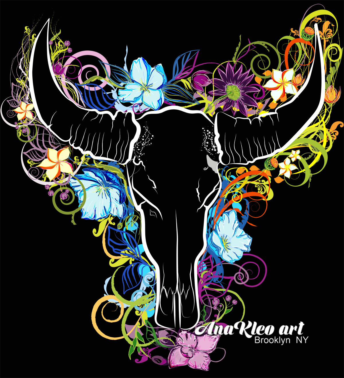 skull head bone bull bright flower graph