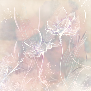 Flowers Line art with watercolor background PNG / JPG