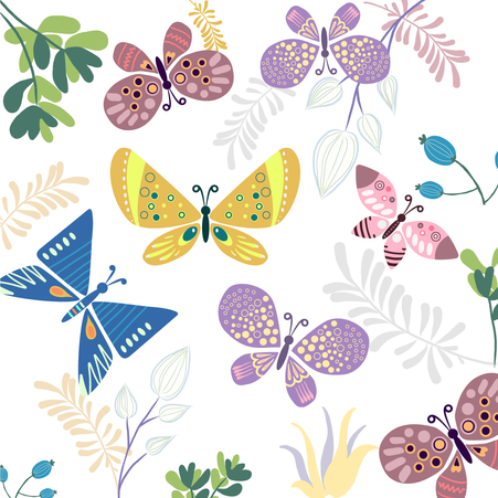 Hand Painted Vector Butterflies.  EPS/ PNG / SVG