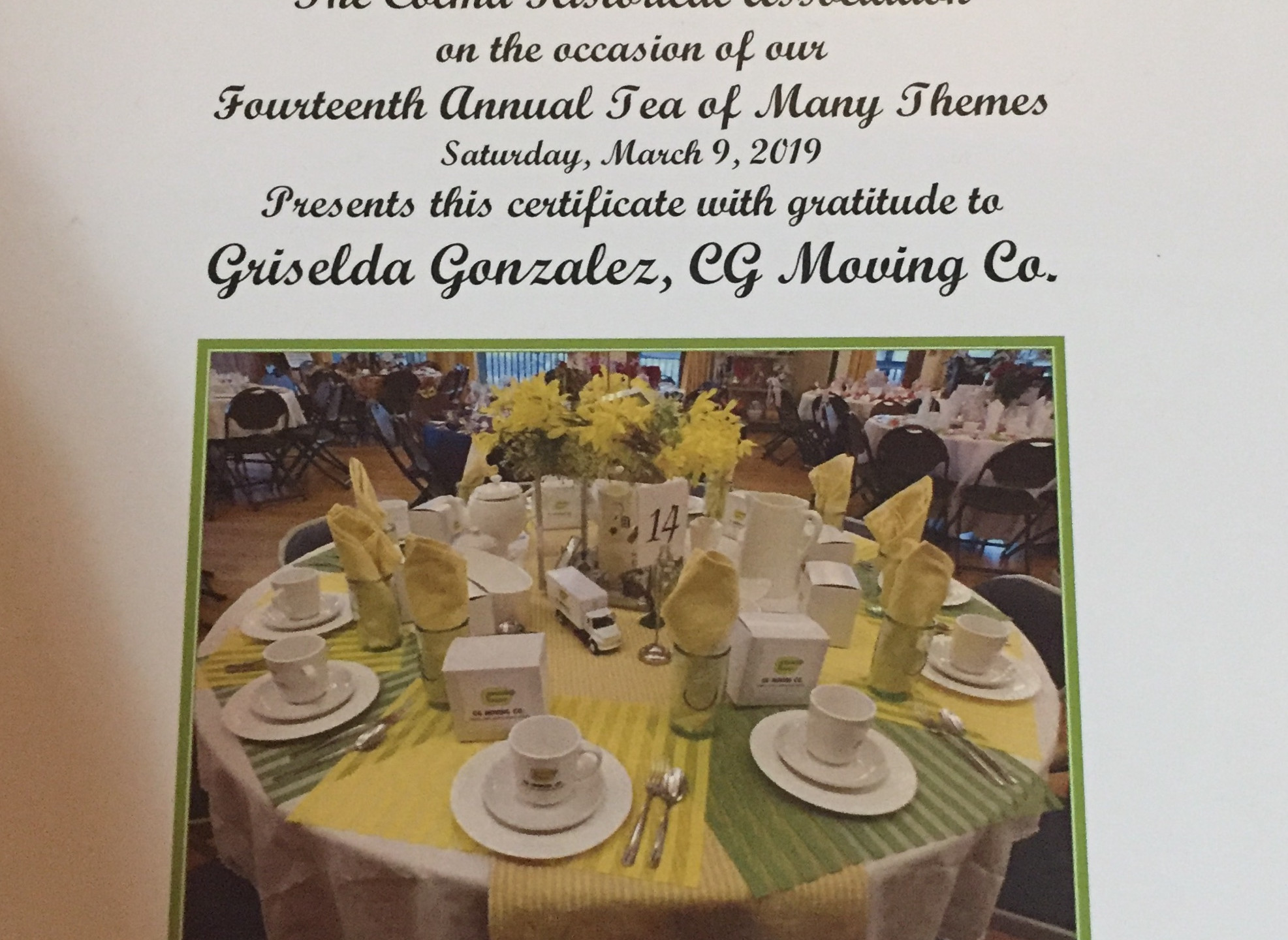 cgmoving Certificate of Appreciation