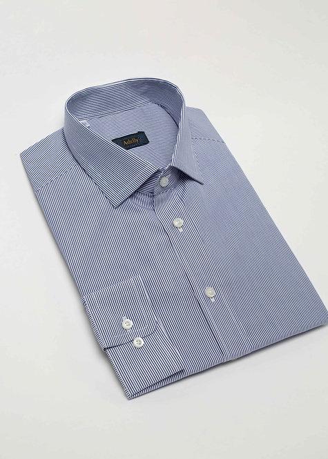 Риза с дълъг ръкав  синьо райе