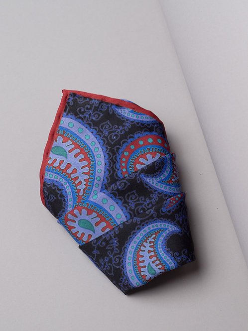 Копринена кърпичка синя на пейсли