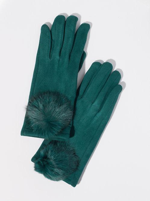 Дамски ръкавици- маслено зелени с пух