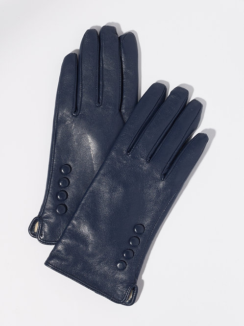 Дамски ръкавици-тъмно сини естествена кожа