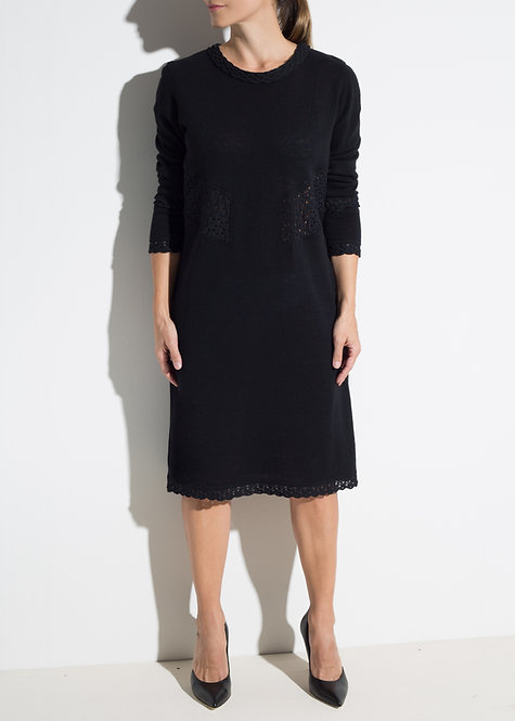 Вълнена дамска рокля черна