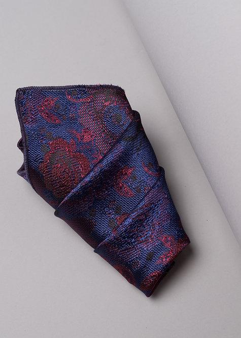 Копринена кърпичка синьо и червено на рози