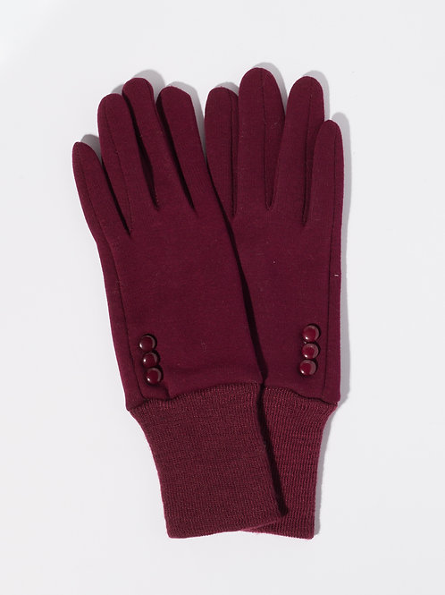 Дамски ръкавици -бордо с декоративни копчета