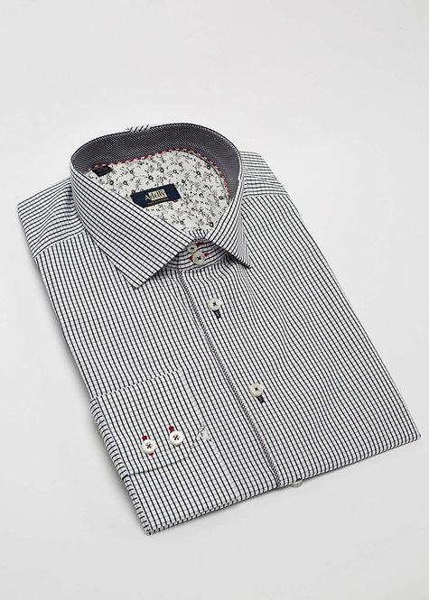 Риза с дълъг ръкав черно и бяло каре