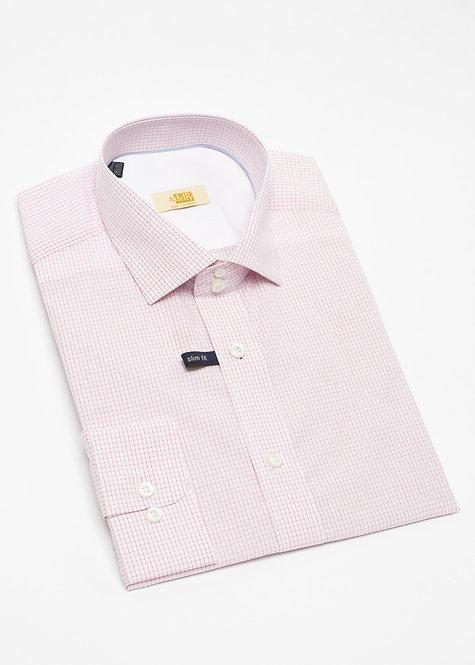 Вталена риза с дълъг ръкав  розово каре