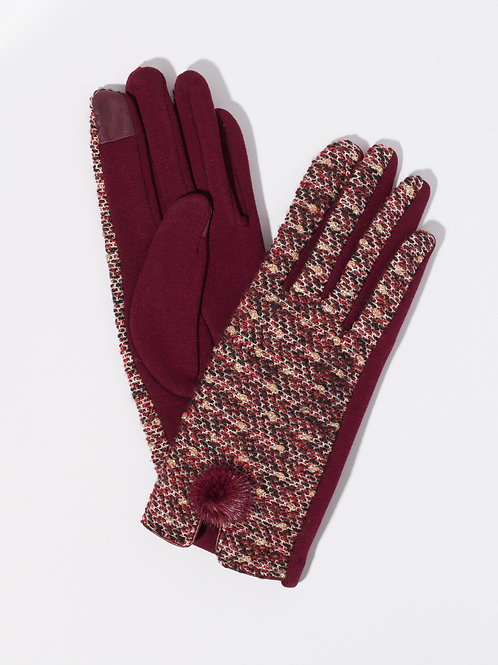 Дамски ръкавици- бордо меланж с декоративен пух