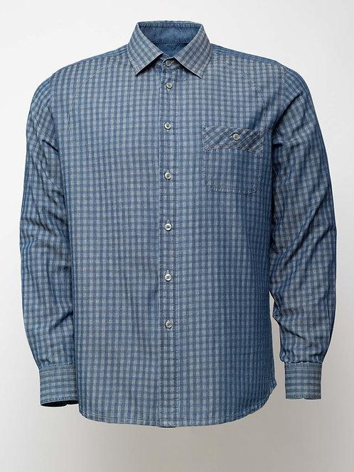 Дънкова  риза на каре