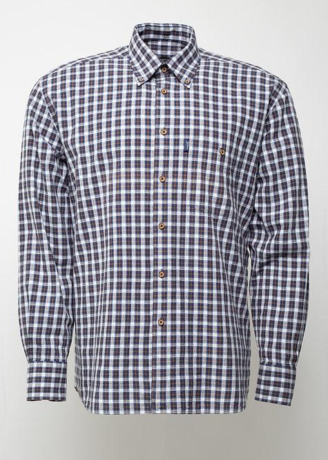 Риза с дълъг ръкав  бяло, кафяво и черно каре
