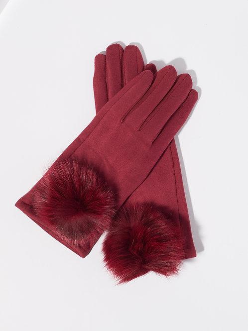 Дамски ръкавици -бордо с пух