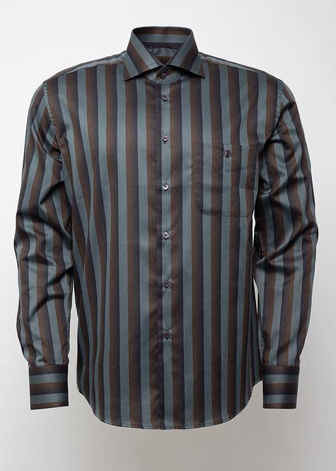 Риза с дълъг ръкав сиво, кафяво и черно райе