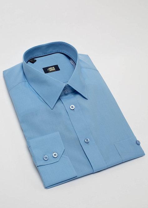 Мъжка риза с дълъг ръкав син поплин
