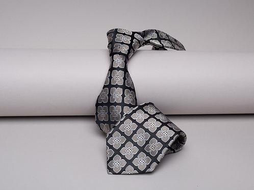 Копринена вратовръзка черна на сиви цветя