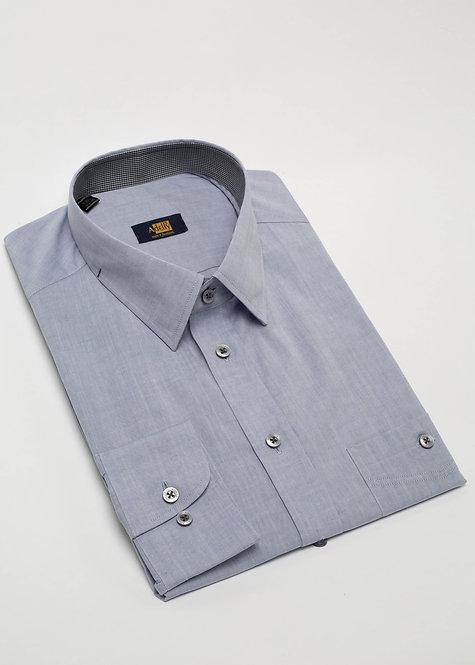 Риза с дълъг ръкав  синьо-сиво