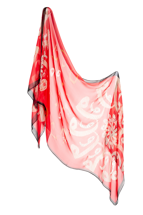 Копринен шал червен фигурален