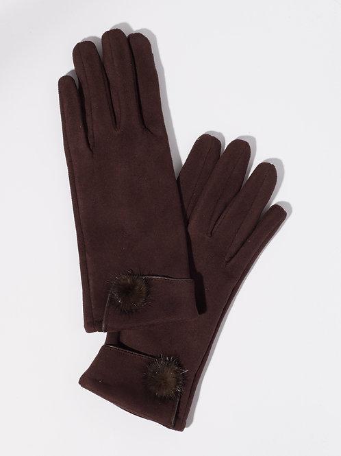 Дамски ръкавици-кафяви с пух