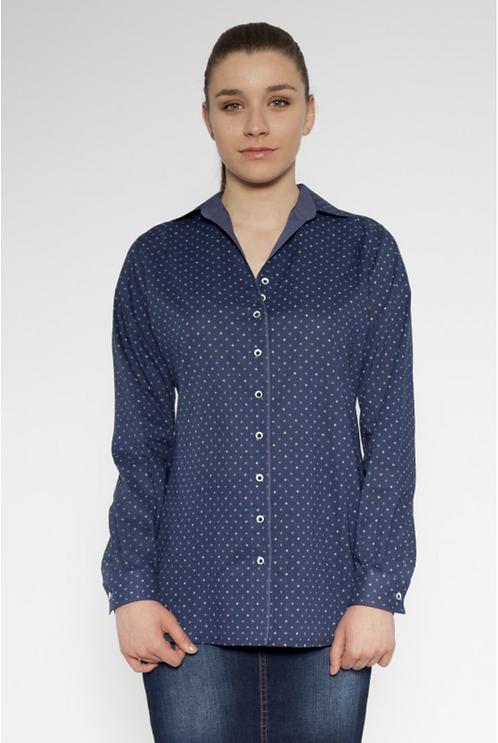 Дамска риза в синьо на ситни фигури