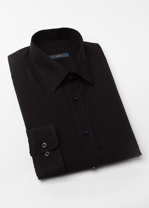 Черна риза с дълъг ръкав и класическа яка