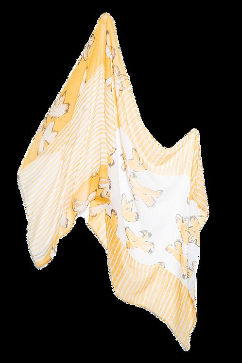 Памучен шал жълто и бяло