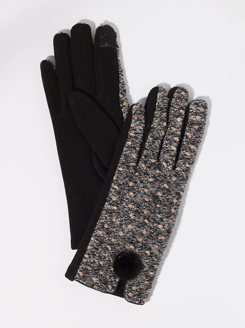 Дамски ръкавици- черен меланж с декоративен пух