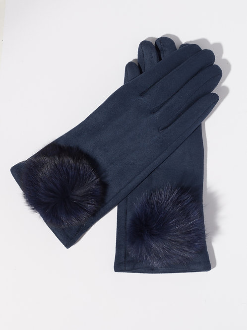 Дамски ръкавици- сини с пух