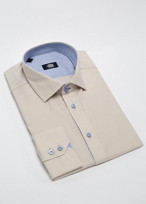 Риза с дълъг ръкав с бежова със сини копчета