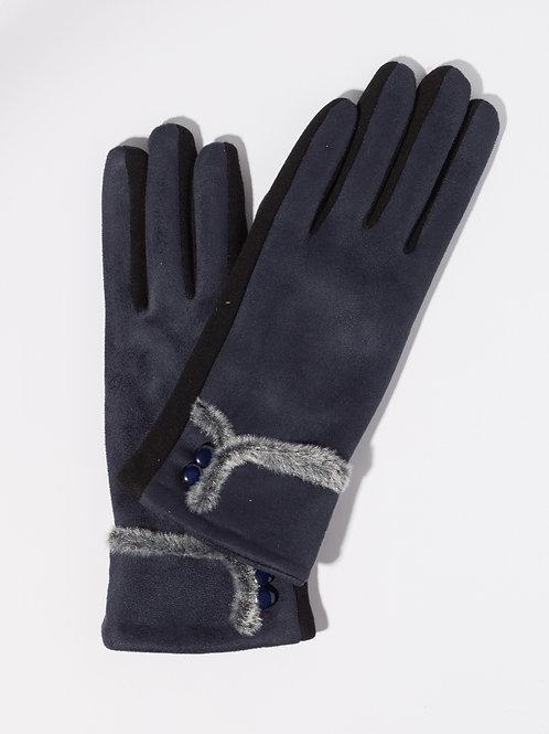 Дамски ръкавици- тъмно сини с копчета и пух
