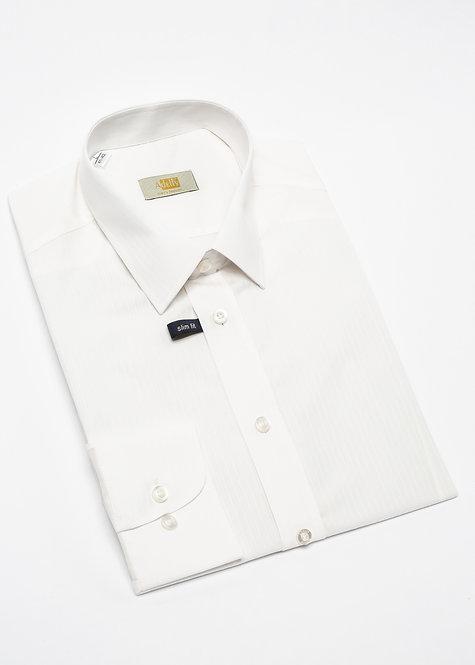 Вталена риза с дълъг ръкав екрю райе