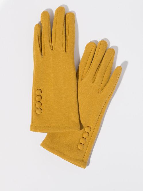 Дамски ръкавици цвят горчица с декоративни копчета