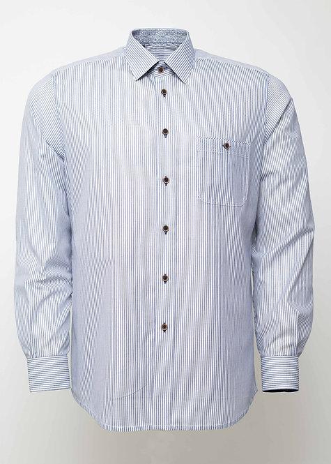 Риза с дълъг ръкав синьо и бяло  райе