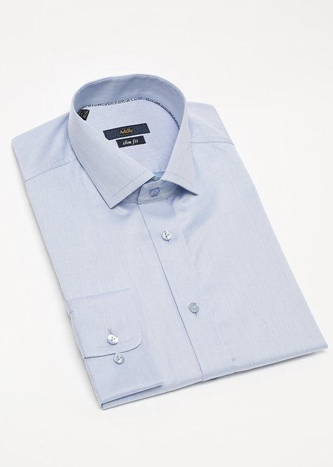 Вталена риза с дълъг ръкав светло синя