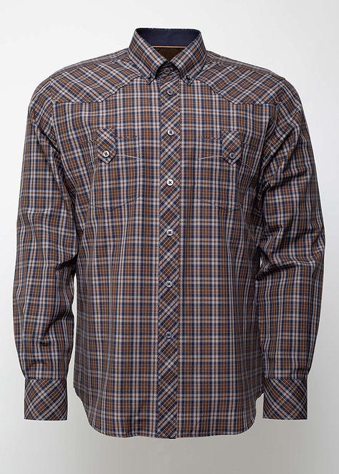 Спортна риза с дълъг ръкав  кафяво каре