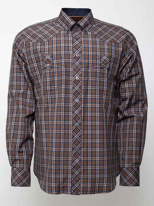 Спортна риза с дълъг ръкав на карета-  тъмно синьо и кафяво  каре