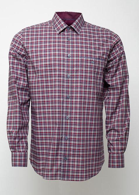 Риза с дълъг ръкав  червено и бяло каре