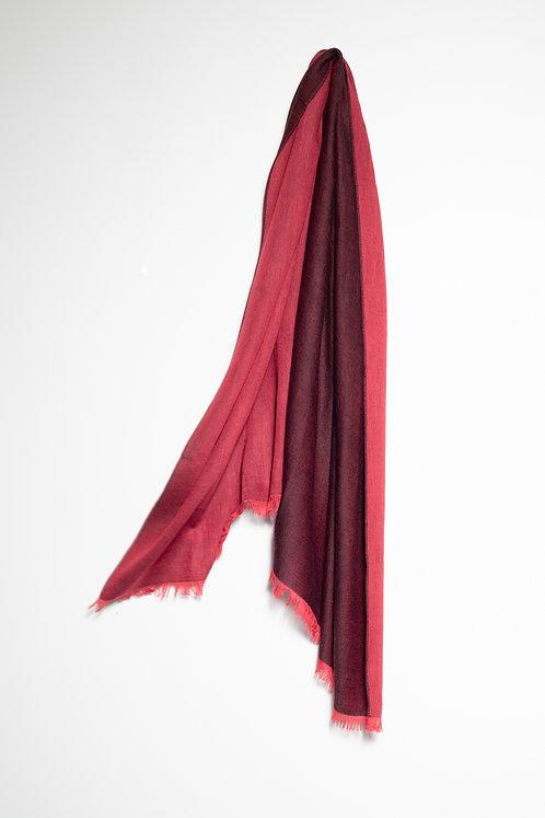 Дамски шал двулицев бордо и червено