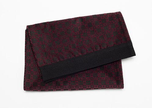 Жакардов шал в бордо и черно фигурален