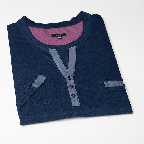 Mъжка блуза къс ръкав с V-образно деколте и копчета