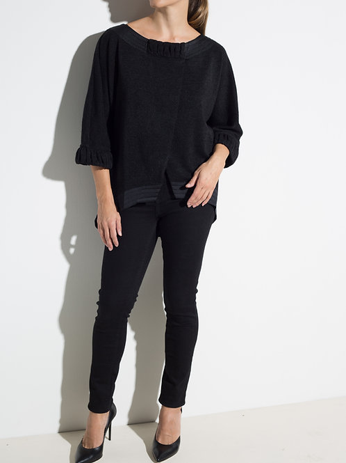Дамска блуза със сатенирани детайли черна